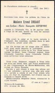 Généalogie Avis de décès Mme ERNEST DRUART née EVELYNE MARIE GEORGETTE LEFEBVRE