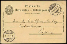 Switzerland 1891, 5c Stationery Card Neumunster - Luzern #C16989