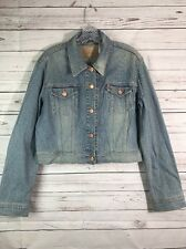 Levi Strauss Women's Cropped Jean Jacket Stretchy Size XL Distressed Pink Thread