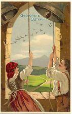 Ostern, Mann und Frau läuten Glocken, um 1910