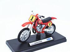 1:18 Welly Honda CR250R 1# Motorcycle Motocross Bike Model New In Box Red