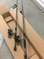 """Lot of 2 Mitchell Avocet Rod and Reel Combos Long Cast Rear Drag Graphite 6'6"""""""
