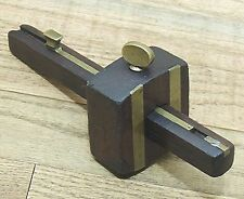 UNMARKED ROSEWOOD/BRASS MORTISE GAUGE-VINTAGE HAND TOOL