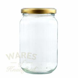 Jam Jars, 1lb, 370ml, FSA approved x 100, glass jam jars & gold lids