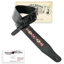 Walker & Williams CVG-103 Black PaddedGuitar Strap Hand Tooled Celtic Design