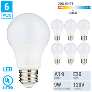 6 Pack LED A19 Bulb 9W 60W Equivalent Non Dimmable 4000K Cool White Medium E26