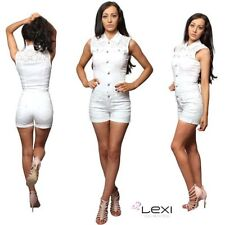 Denim Patternless Sleeveless Jumpsuits & Playsuits for Women