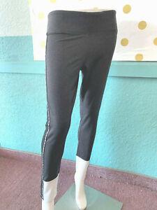 Victoria's Secret Pink Yoga Flat Legging Charcoal Gray Logo Stripe NWT