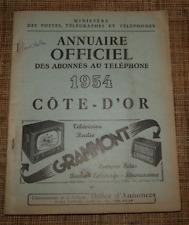 Annuaire officiel des abonnés au téléphone 1954 cote d'or AB état
