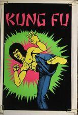 Bruce Lee Original Vintage Blacklight Poster Kung Fu 1970's Martial Arts Velvet