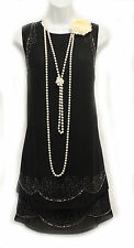 Neuf Rosa Rosa Vintage Années 1920 Noir Perlé Gatsby Downton Garçonne Charleston Robe