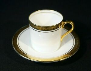 Beautiful Aynsley White And Gold Encrusted Majestic Demitasse And Saucer