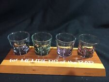 "Shot Glass Holder - ""for MEMBERS of the BAR"" w 4 Themed Shot Glasses"