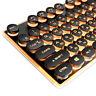 Keyboard Retro Round Glowing Keycap Metal Panel Backlit USB Wired