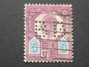(1) used Great Britain stamp off paper -Scott # 134-King Edward VII-with perfins