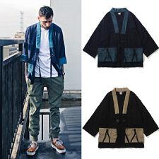 2018 New Men Japanese Linen Cotton Kimono Coat Baggy Vintage Jacket Shirt Tops