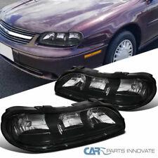 Chevy 97-03 Malibu 04-05 Classic 97-99 Oldsmobile Cutlass Black Headlights Pair