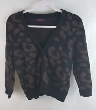 Takeout Juniors Cardigan Size XL Black Cheetah Metallic Long Sleeve Sweater Top