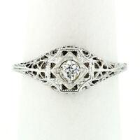 Antique Art Deco 18k Gold 0.17ct European Diamond Puffed Milgrain Filigree Ring