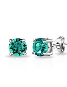 Stud Earrings Diamond Unique Emerald 2ct Solitaire Solid 9ct White Gold Studs