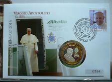 Vaticano NUMISBRIEF/medaglie lettera Viaggio Papa San Francesco in Asia nel folder