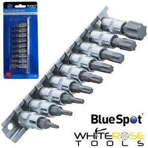 """BlueSpot Torx Bit Socket Set 9pc 1/4"""" Drive T10-T60 on Socket Rail Trx-Star TRX"""
