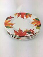 Royal Norfolk Autumn Leaves 4 Dinner Plates Fall Halloween Thanksgiving