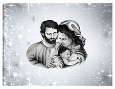 Quadro moderno 100x70 sacra famiglia madonna gesù nascita testata letto grigio