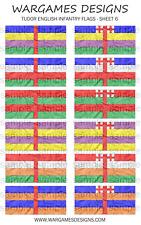 Bandiere 10 mm-FANTERIA INGLESE TUDOR-FOGLIO 6-LUCCIO & SHOTTE, Barocco, DBR