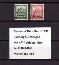 U0227) GERMANY REICH 1932 Sc B42-B43 Mi 463-464 MNH **, Building Surcharged