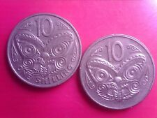 NEW    ZEALAND    10   CENT   1978   ONE  SHILLING  0R 10 CENT 1967     JAN13