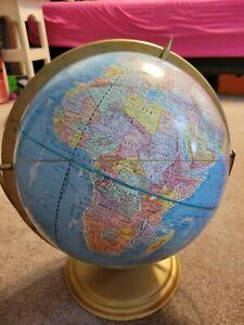 "VTG 60's CRAMS Scope O Sphere 12"" WORLD GLOBE On PIVOTING METAL Stand model c74"