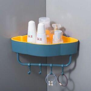 Bathroom Shower Shelf Wall Mounted Corner Storage Rack Stand Holder Punch Free