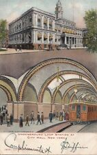 Postcard Underground Loop Railroad Station City Hall New York NY 1905