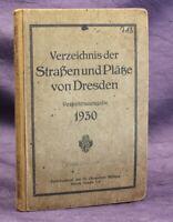 Verkehrsausgabe Verzeichnis der Straßen und Plätze von Dresden 1930 Ortskunde js