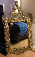 VTG Turner MFG Retro Fashion Mid Century French Gold Ornate Mounted Wall Mirror