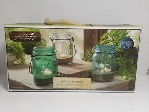 APOTHECARY CO. BLUE/GREEN/CLEAR GLASS MASON STYLE JARS FLAMELESS TEA LIGHT SET