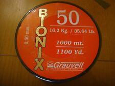 NYLON GRAUVELL BIONIX 1000 M  ( 0,50 MM-16,2 KG / 35,64 Lb )