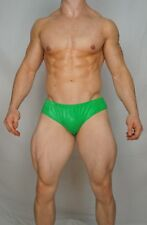 NEW MEN'S WIDE WAISTBAND GREEN POSING SUIT TRUNKS BODYBUILDER Muscle MEDIUM