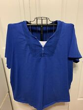 Women's Clothing Catherine's Blue White Blouse Shirt Top Pullover Size 4X 30/32W