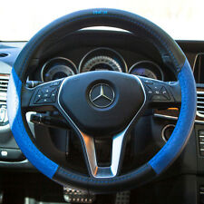 Luxury Genuine Leather It58015 Black Blue Steering Wheel Cover Cadillac Fiat