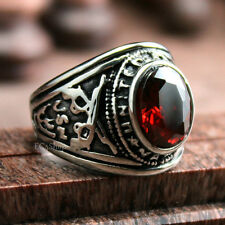 Men's Vintage United States Navy Ruby Gemstone CZ Military Ring Stainless Steel