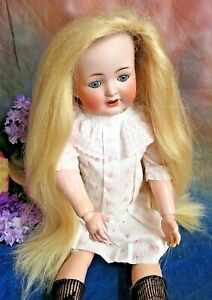 "Vintage DOLL WIG extra long BLONDE synthetic LARGE doll 24-34"" repair supplies"