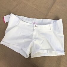 Isabel Maternity NEW White Denim Midi Short Shorts Size 18