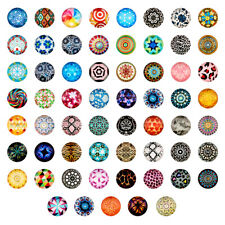 200PCS Mosaic Printed Glass Cabochons Half Round/Dome Beads Mixed Color