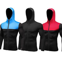 Men's Athletic Workout Hoodie Zip Up Running Gym Cycling Hooded Zipper Pockets