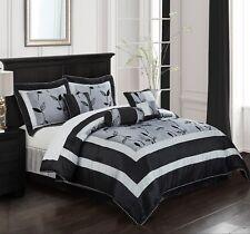 Comforter Sets King Bedding Sheet Comforter Sheets Bed in a Bag Floral Grey 7 pc