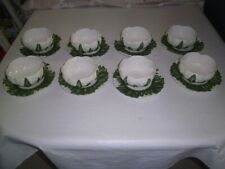 Set Eight Vintage Italy Majolica CAULIFLOWER Bowls and Liners hand painted 1970s