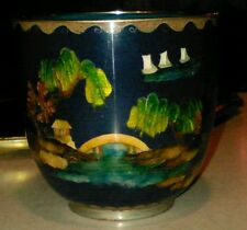 Antique Chinese cloisonne cup sailboats Bridge scene c1900