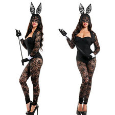 Sexy Lady Bunny Costumes Rabbit Lace Outfits Halloween Bodysuits Sheer Lingeries